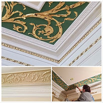 raised plaster ceiling border being gilded with gold leaf by an artist from Tust Studio San Francisco