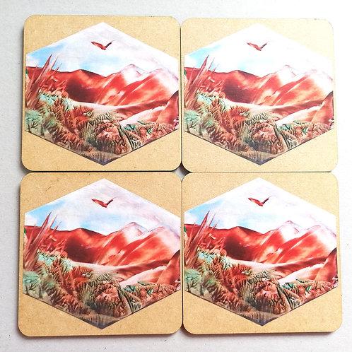 Hexagonal Mountainscape: Wooden Coaster Set