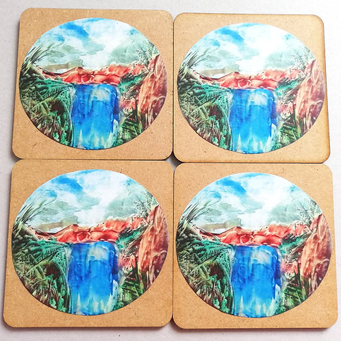 Mountain Waterfall: Wooden Coaster Set