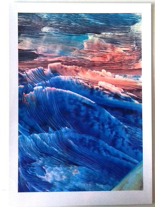 Furious Seas:  A4 Print of Original Encaustic Wax Painting