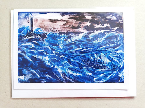 Storm With Silver Waves: Print Greetings Card