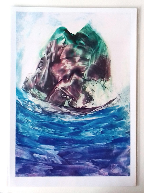 Monolithic Island: A4 Print of and Original Encaustic Wax Painting
