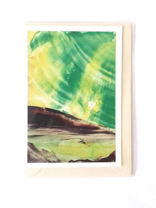 Green Aurora: Print Greetings Card