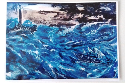 Storm with Silver Waves: A4 Print of Original Encaustic Wax Painting