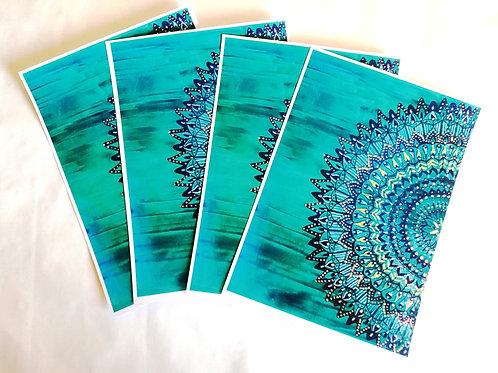 Earth Half Mandala: A4 Print of Original Encaustic Wax Painting