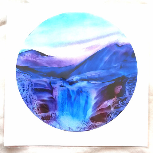 Crystal Falls: Square Print of Original Encaustic Wax Painting