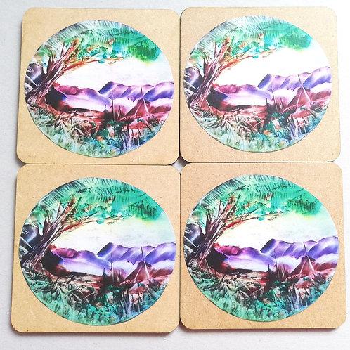 Mountain Retreat: Wooden Coaster Set