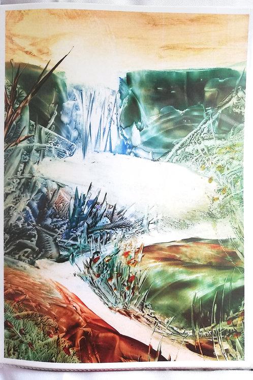 Enchanted Pool: A4 Print of Original Encaustic Wax Painting