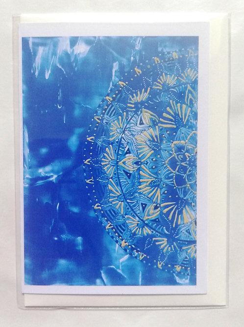 Water Half-Mandala: Print Greetings Card