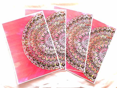 Fire Half-Mandala: A4 Print of Original Encaustic Wax Painting