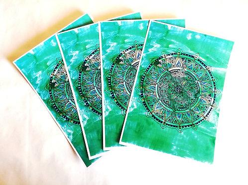 Earth Mandala: A4 Print of Original Encaustic Wax Painting