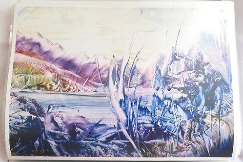Lochside: A4 Print of Original Encaustic Wax Painting