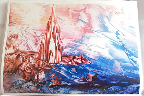 The Sea's Devastating Force: A4 Print of Original Encaustic Wax Painting