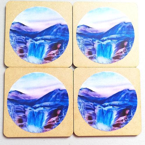 Crystal Falls: Wooden Coaster Set