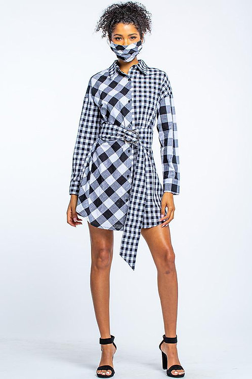 Button Front Shirt Dress with Matching Mask