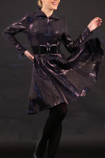 Knit Sequin Animal Pattern A-line Coat Dress