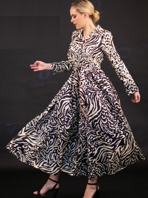 Animal Print Long Coat Dress