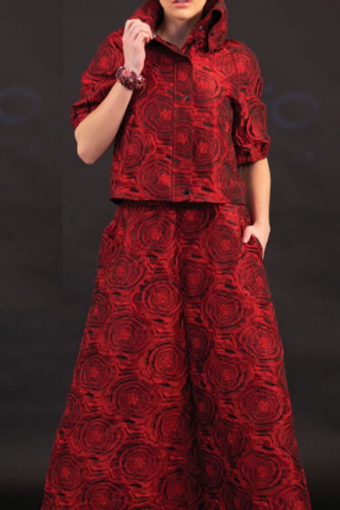 Rose Yarn Dyed Brocade Crop-Jacket and Long Skirt
