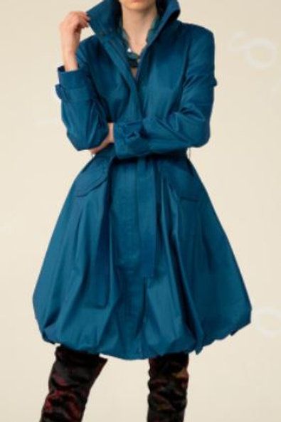Water resistant rich stretch duppioni classic bubble coat dress