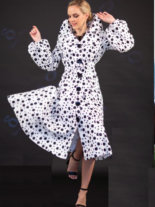 Print Dots Bubble Coat-Dress