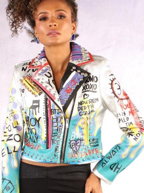 Graffiti Print Faux Leather Motor Jacket