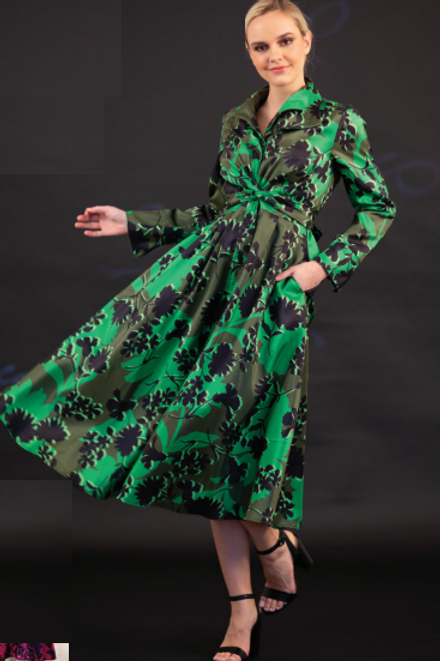 Print long A-line Coat Dress