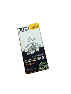 """Настоящий шоколад 70% """"миндаль"""", 50 г."""