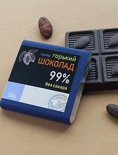 Супер горький шоколад без сахара 99%, 30 г.