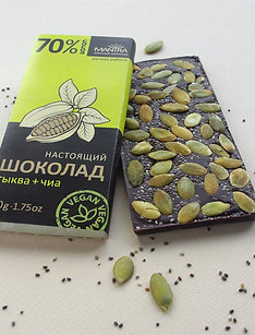 "Настоящий шоколад 70% ""тыква + чиа"", 50 г."