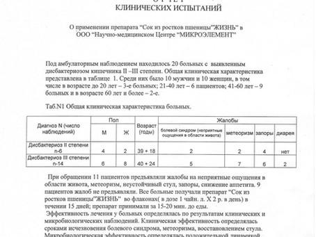 Отчет клинических испытаний.