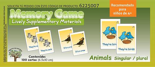 Memoramas en inglés Animals singular/plural