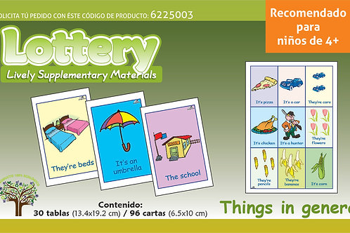 Loteria De Cosas Del Entorno En Ingles para edades 4+