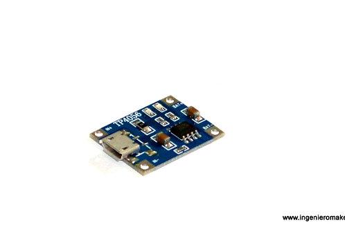 Cargador de baterías 1 celda @ 1A LiPo microUSB