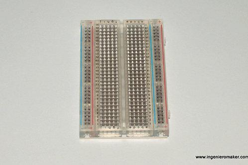 Protoboard transparente de 400 puntos