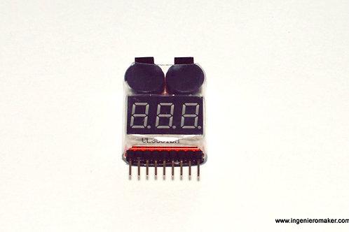 Medidor de baterías de polímero de litio de 1 a 8S