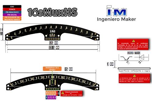 Barra de 16 sensores optoreflectivos (QRE1113) multiplexados (74HC4067)