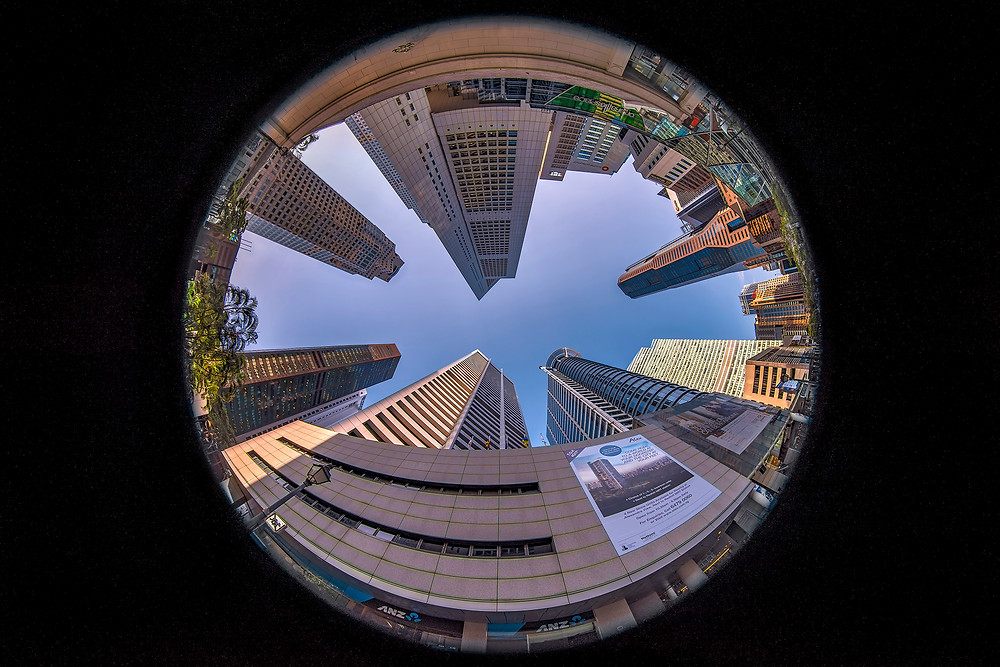 Worm's eye view at 8mm focal length at Raffles Place