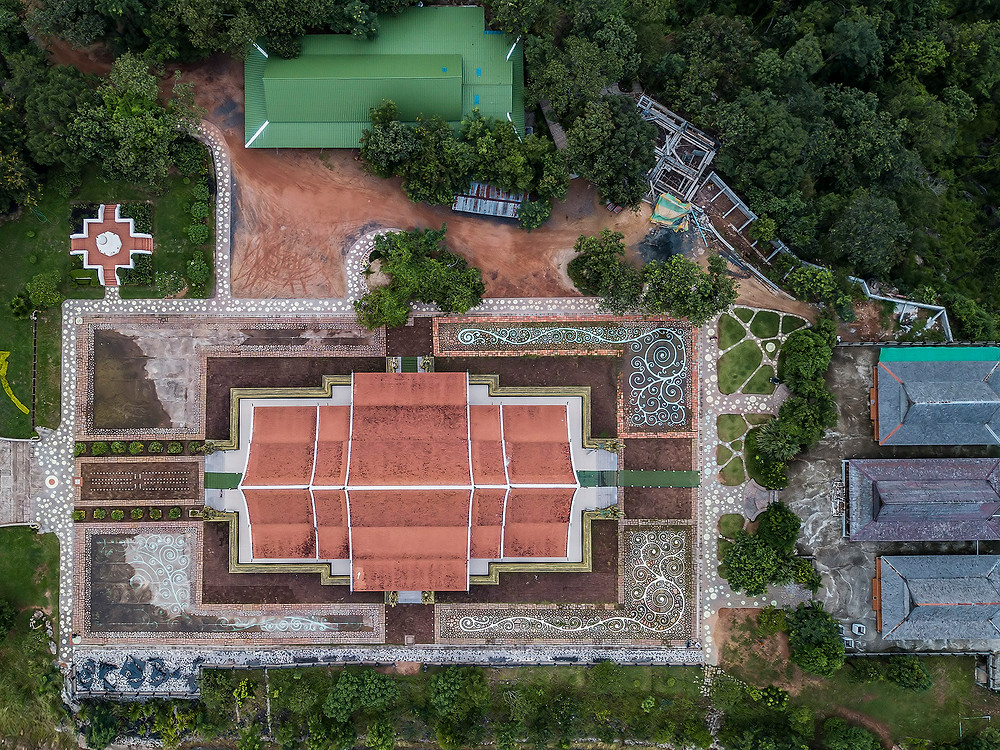 Jul 22nd 2017 Aerial view of Wat Phu Prao in the day