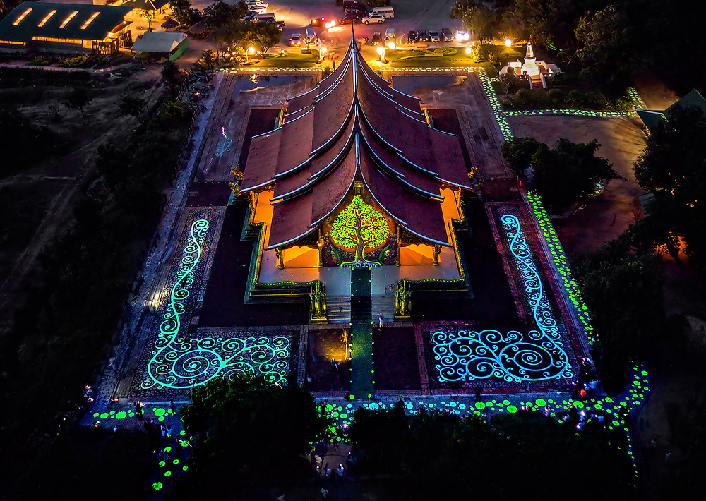 Jul 22nd 2017 Aerial view of Wat Phu Prao in the night