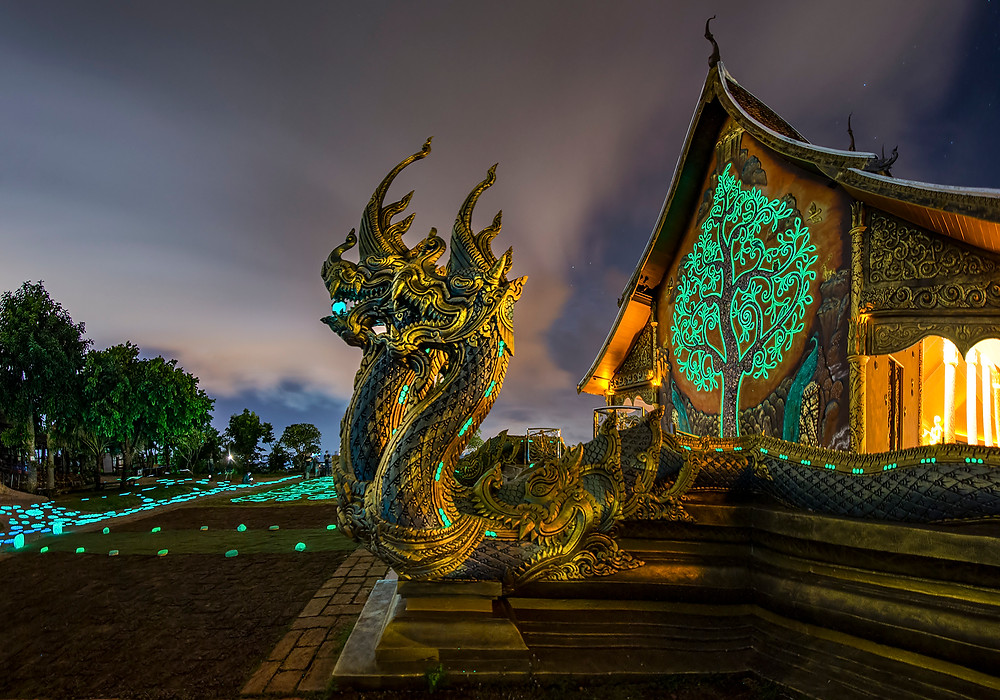 "Jul 21st 2017 Dragons that ""guard"" Wat Phu Prao in the night"