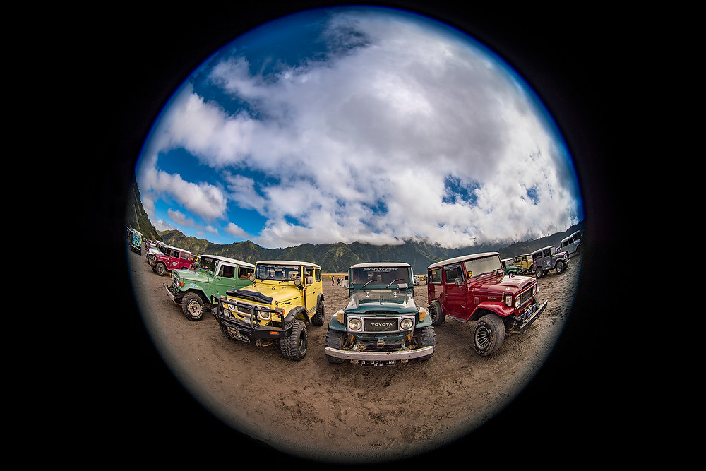The iconic candy colored 4WD Jeeps that transport the visitors around the National Park