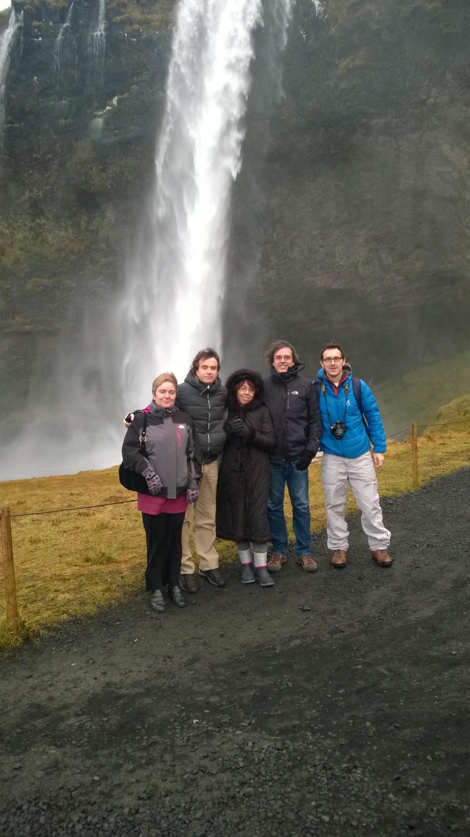 the group at Skógarfoss