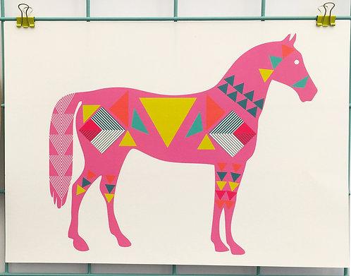 Geo Horse  Pink