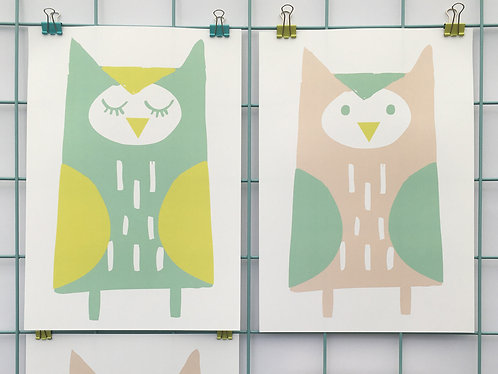 Set of 3 Owl Prints (Boys)