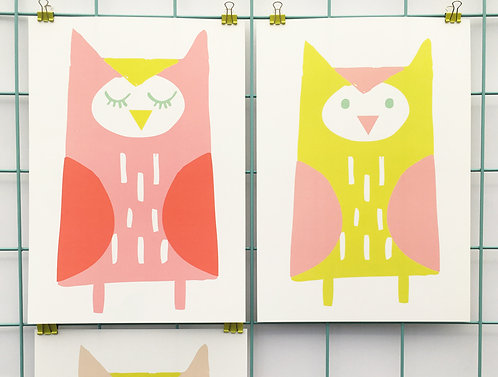Set of 3 Owl Prints (Pink)