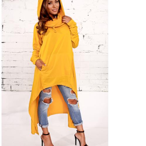 Yellow Asymmetrical Hoodie