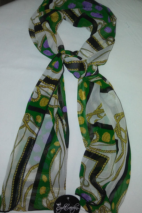 Green Chain Print Scarf