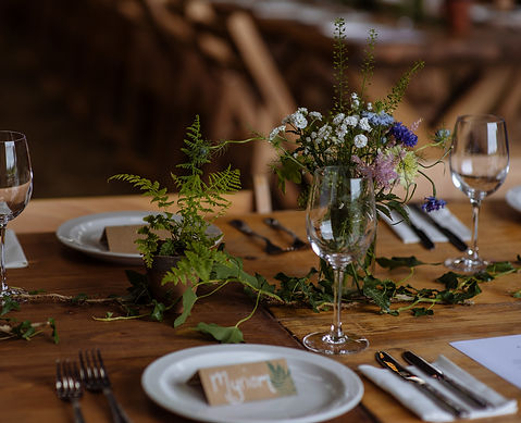 Wedding reception table with bare woden top, potted ferns, wildflowers and ivy