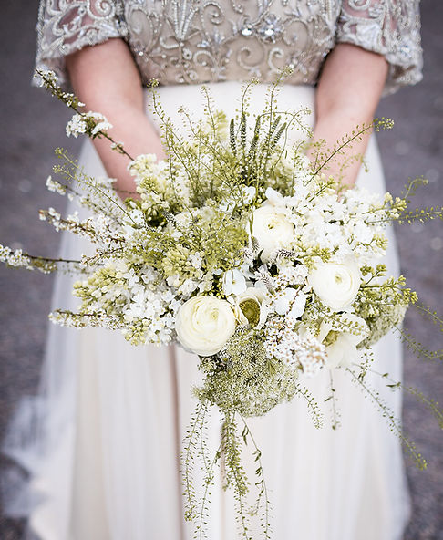 Wildflower Wedding Bouquet with spring flowers in whites and greens