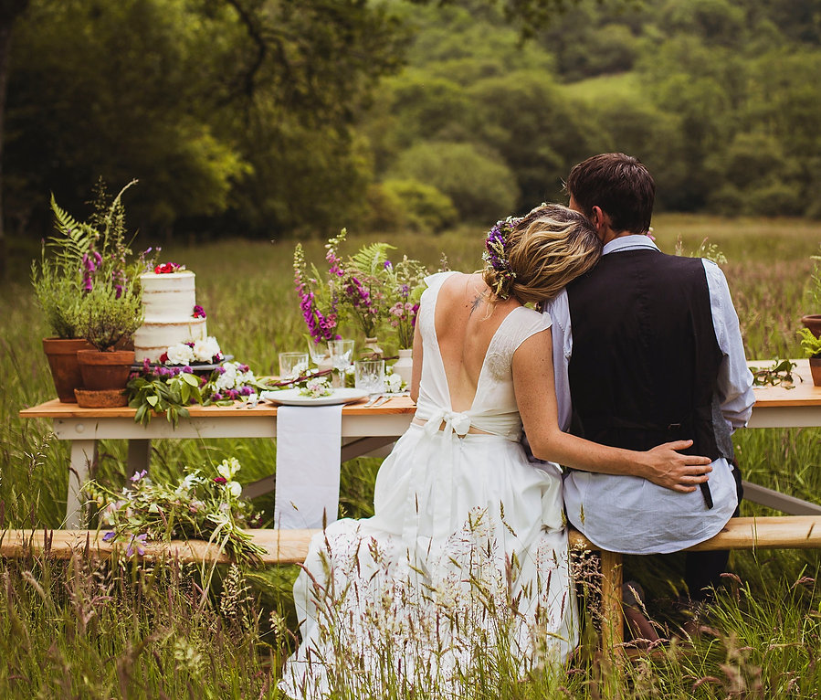 Bride and groom sitting at wedding table with wild flowers, potted herbs, and a wedding cake, set in a meadow